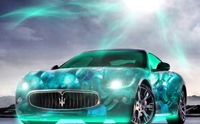 Picture the sun, light, lights, Maserati, neon, brightness, 2880x1800, car