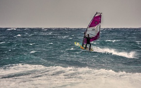 Picture horizon, Windsurfing, extreme sports, the troubled sea, windsurfer