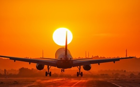 Picture sunset, landing, Aircraft
