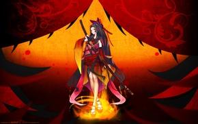 Picture girl, weapons, sword, katana, anime, art, redjuice, resheph
