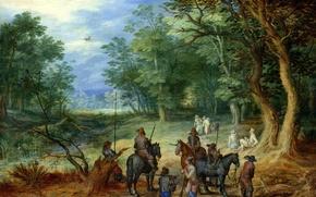 Picture landscape, picture, Jan Brueghel the elder, Guardian in the Woods