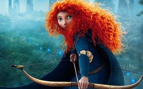 Picture cartoon, pixar, brave, Brave's Princess Merida