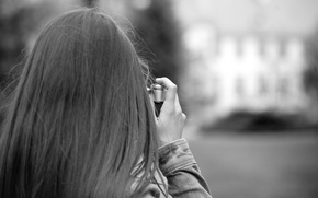 Picture girl, background, widescreen, black and white, Wallpaper, mood, hair, camera, the camera, photographer, wallpaper, widescreen, …