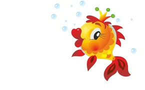 Picture bubbles, fish, tale, crown, art, goldfish, children's