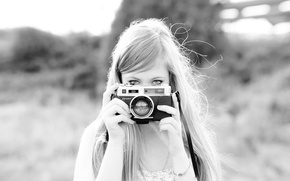 Picture look, nature, Girl, the camera, blonde