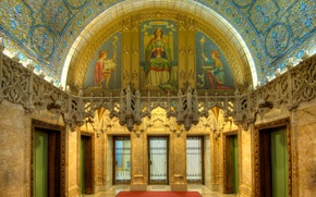 Picture mosaic, New York, USA, architecture, City Hall