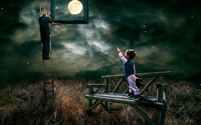 Picture the moon, stars, boy, Look garndad you have caught the moon for me
