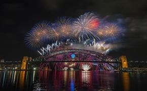 Picture night, bridge, the city, lights, Australia, Sydney, fireworks, Harbour Bridge, 2015