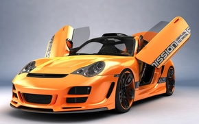 Wallpaper Orange, Porsche, Porshe, Art