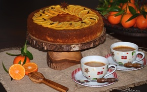 Wallpaper cake, cakes, Cup, spices, coffee, tangerines