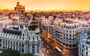 Picture city, Spain, buildings, Madrid