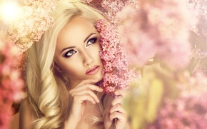 Picture look, girl, flowers, makeup, blonde, lilac