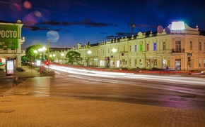 Picture clouds, trees, machine, night, the city, lights, movement, street, lights, stream, lights, signs, Omsk