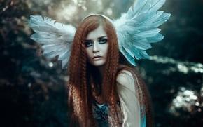 Picture girl, hair, portrait, feathers, makeup, Bella Kotak