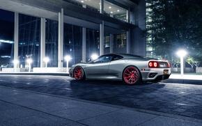 Picture Ferrari, 360, Modena, Supercar, Silver, Wheels, Before, Rear, Garde