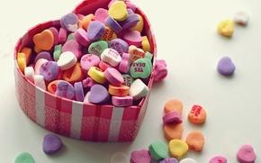 Wallpaper macro, colorful, box, heart, hearts, love, sweet, the sweetness, love, box