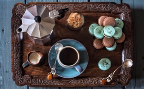 Picture coffee, sugar, tray, spoon, macaroon