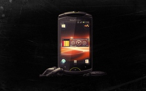 Picture music, player, black background, with live walkman, sony ericsson