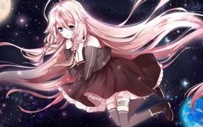 Picture girl, the sun, stars, earth, art, Vocaloid, Vocaloid, an-mar