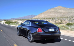 Picture road, car, Rolls-Royce, car, rear view, road, speed, Wraith, Black Badge