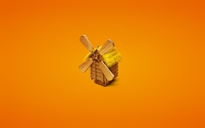 Picture grass, tree, minimalism, mill, orange background, mill, a reed