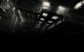 Picture roof, snow, night, style, figure, the building, Windows, black and white, Noir, art