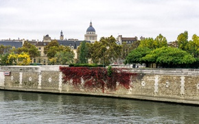 Picture trees, river, France, Paris, Hay, Pantheon