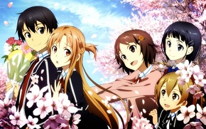 Picture bouquet, Sakura, form, flowering, art, friend, sword art online, kirito, kirigaya kazuto, asuna, abec