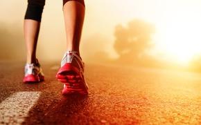 Picture road, asphalt, girl, the sun, dawn, feet, morning, running, sneakers