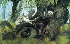 Wallpaper forest, fantasy, dragon, knight, George and the Dragon, John Howe Saint