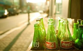 Wallpaper the sun, green bottle, Coca-Cola, coca-cola
