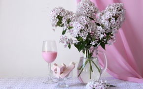 Picture flowers, pink, glass, bouquet, marshmallows, Phlox