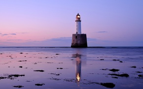 Picture sea, the sky, clouds, lighthouse, Scotland, UK, twilight, lilac evening, pink sunset