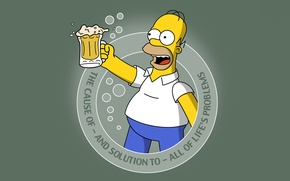Picture the simpsons, Homer, simpsons, Cartoon, beer, beer, homer