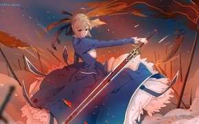 Picture girl, weapons, blood, sword, anime, art, flags, saber, fate stay night, xi chen chen