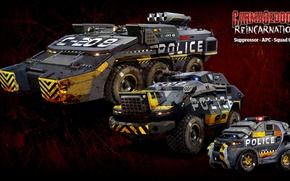 Picture The game, Game, Cars, Carmageddon Reincarnation, APC, Suppressor, Squad Car