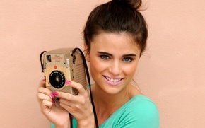 Picture smile, background, model, the camera, Lauren Wade