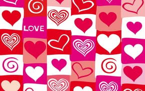 Picture vector, hearts, red, love, pink, hearts, valentine