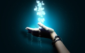 Picture light, particles, blue, black, Hand, turquoise