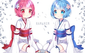 Picture children, background, kimono, yukata, demons, anime, art, sisters, horn, clips, Ram, Rem, Re: Zero kara …