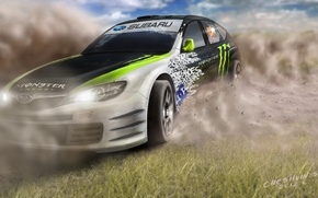 Picture Subaru, Impreza, art, Monster Energy, Ken Block, STi