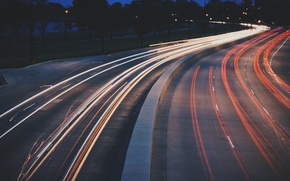 Picture lights, road, cars, evening, traffic, highway, vehicles, long exposure