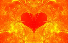 Picture red, abstraction, background, Wallpaper, patterns, heart, figure, haze, fractal, segment, turbulence
