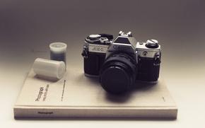Picture the film, book, Canon, AE-1