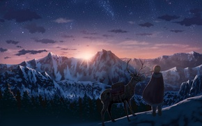 Picture the sky, girl, the sun, stars, clouds, sunset, mountains, nature, anime, deer, art, horns, nauimusuka