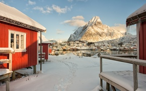 Picture winter, sea, the sky, snow, house, mountain, Norway