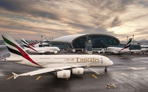Wallpaper The sky, Clouds, Sunrise, The plane, Airport, The building, Dubai, Clouds, Sky, Dubai, Sunrise, UAE, ...