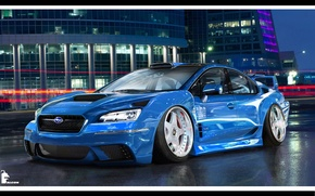 Picture race, WRX, subaru, blue, Subaru Impreza, virtual tuning