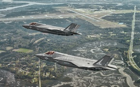 Picture flight, landscape, fighters, bombers, Lightning II, F-35B