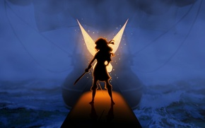 Picture light, ship, wings, fairy, Disney, sword, Disney, The Pirate Fairy